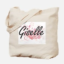 Giselle Artistic Name Design with Flowers Tote Bag