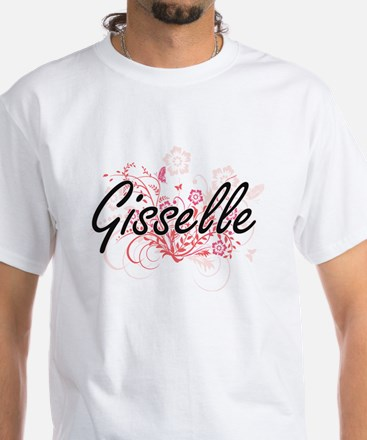 Gisselle Artistic Name Design with Flowers T-Shirt
