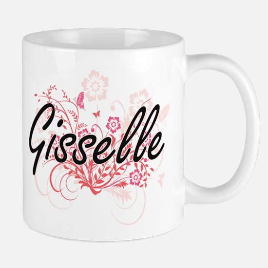 Gisselle Artistic Name Design with Flowers Mugs