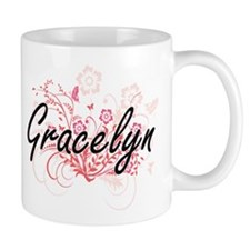Gracelyn Artistic Name Design with Flowers Mugs