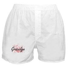 Gracelyn Artistic Name Design with Fl Boxer Shorts