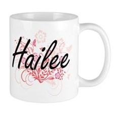 Hailee Artistic Name Design with Flowers Mugs