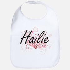 Hailie Artistic Name Design with Flowers Bib