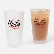 Hailie Artistic Name Design with Fl Drinking Glass