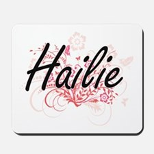 Hailie Artistic Name Design with Flowers Mousepad