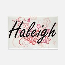 Haleigh Artistic Name Design with Flowers Magnets