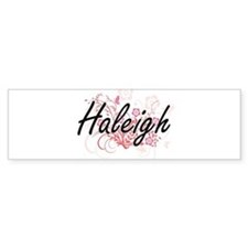 Haleigh Artistic Name Design with F Bumper Car Sticker
