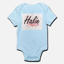 Halie Artistic Name Design with Flowers Body Suit