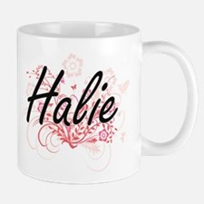 Halie Artistic Name Design with Flowers Mugs