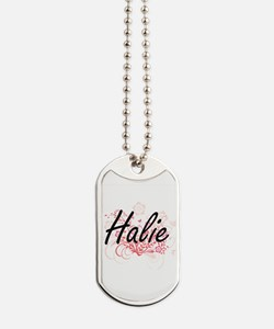 Halie Artistic Name Design with Flowers Dog Tags