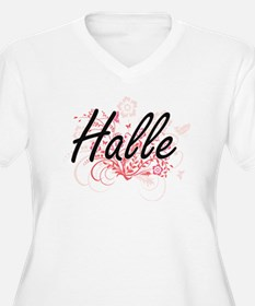 Halle Artistic Name Design with Plus Size T-Shirt