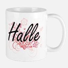 Halle Artistic Name Design with Flowers Mugs