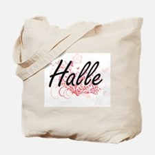 Halle Artistic Name Design with Flowers Tote Bag