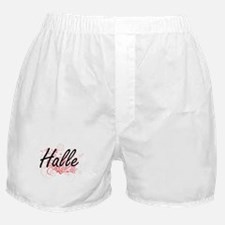 Halle Artistic Name Design with Flowe Boxer Shorts