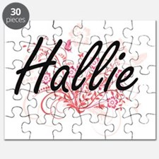 Hallie Artistic Name Design with Flowers Puzzle