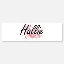 Hallie Artistic Name Design with Fl Bumper Car Car Sticker