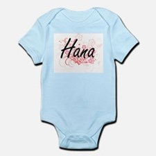 Hana Artistic Name Design with Flowers Body Suit