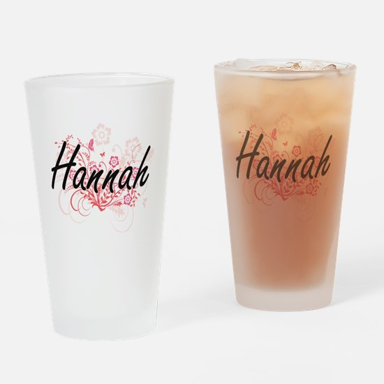 Hannah Artistic Name Design with Fl Drinking Glass