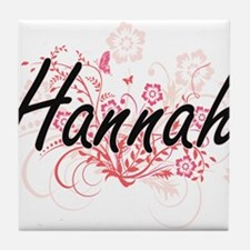 Hannah Artistic Name Design with Flow Tile Coaster
