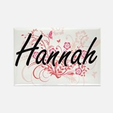 Hannah Artistic Name Design with Flowers Magnets