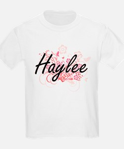 Haylee Artistic Name Design with Flowers T-Shirt