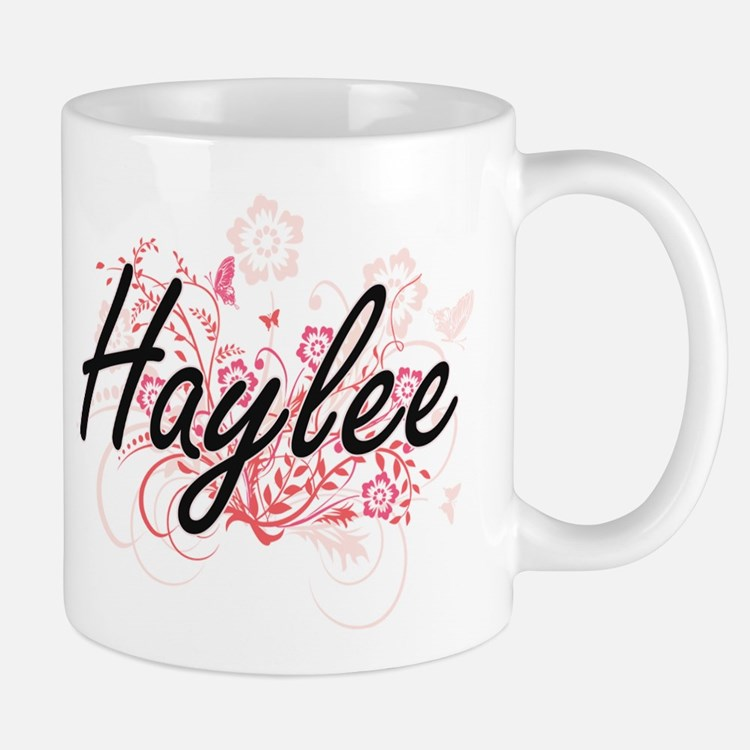 Haylee Artistic Name Design with Flowers Mugs