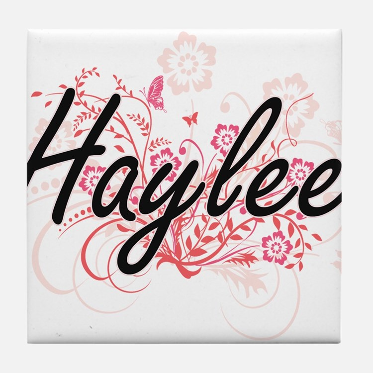 Haylee Artistic Name Design with Flow Tile Coaster
