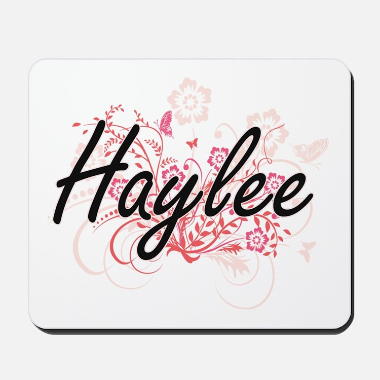 Haylee Artistic Name Design with Flowers Mousepad