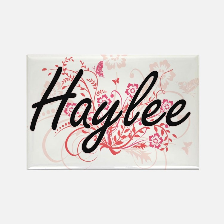 Haylee Artistic Name Design with Flowers Magnets