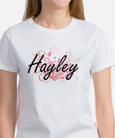 Hayley Artistic Name Design with Flowers T-Shirt