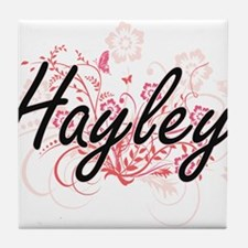 Hayley Artistic Name Design with Flow Tile Coaster
