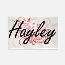 Hayley Artistic Name Design with Flowers Magnets