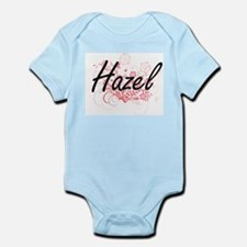 Hazel Artistic Name Design with Flowers Body Suit