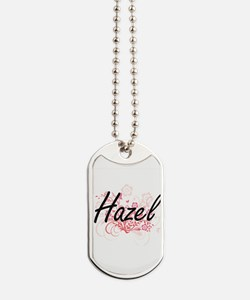 Hazel Artistic Name Design with Flowers Dog Tags