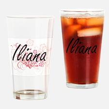Iliana Artistic Name Design with Fl Drinking Glass