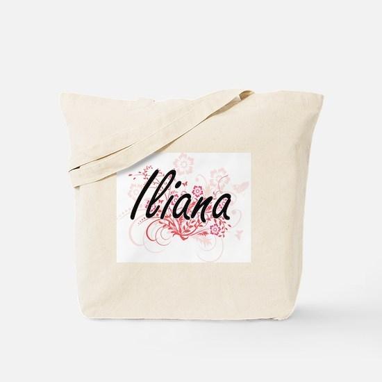 Iliana Artistic Name Design with Flowers Tote Bag