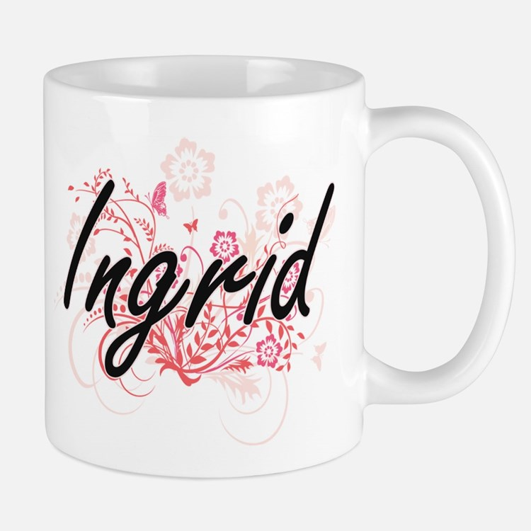 Ingrid Artistic Name Design with Flowers Mugs