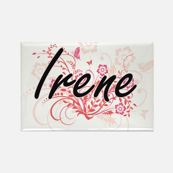 Irene Artistic Name Design with Flowers Magnets