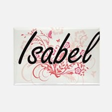 Isabel Artistic Name Design with Flowers Magnets