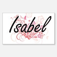 Isabel Artistic Name Design with Flowers Decal