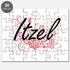 Itzel Artistic Name Design with Flowers Puzzle