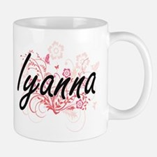 Iyanna Artistic Name Design with Flowers Mugs
