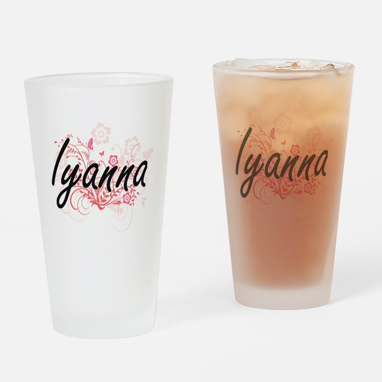 Iyanna Artistic Name Design with Fl Drinking Glass