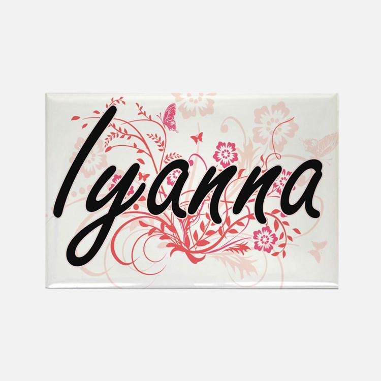 Iyanna Artistic Name Design with Flowers Magnets