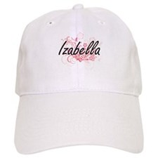 Izabella Artistic Name Design with Flowers Cap