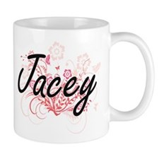 Jacey Artistic Name Design with Flowers Mugs
