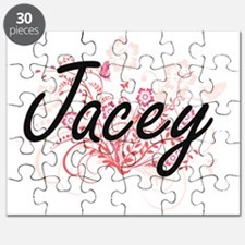 Jacey Artistic Name Design with Flowers Puzzle