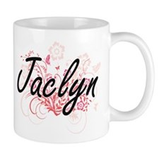 Jaclyn Artistic Name Design with Flowers Mugs