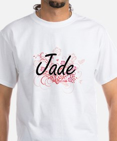 Jade Artistic Name Design with Flowers T-Shirt