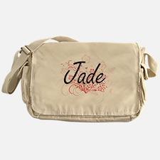 Jade Artistic Name Design with Flowe Messenger Bag